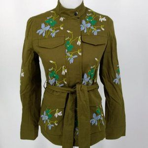 Ann Taylor XS Jacket Cotton Green Floral Embroider